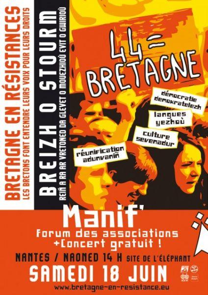 Pour une Bretagne réunifiée, tous à Nantes le 18 Juin dans reunification affichebretagneenresistances18juinnantesnaoned44bretagne2